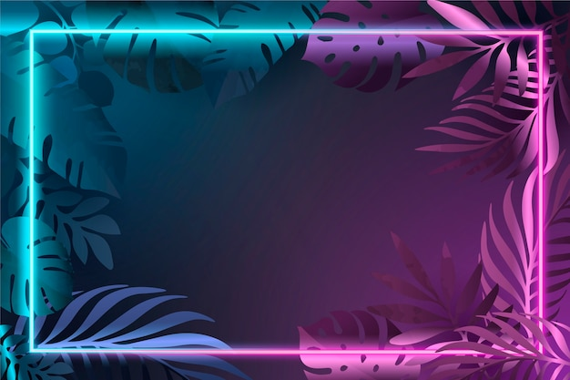 Gradient leaves with neon frame Free Vector