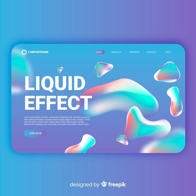 Gradient liquid effect landing page Free Vector