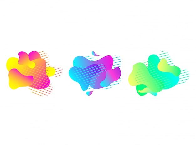 Gradient liquid flow or fluid art abstract shapes Premium Vector