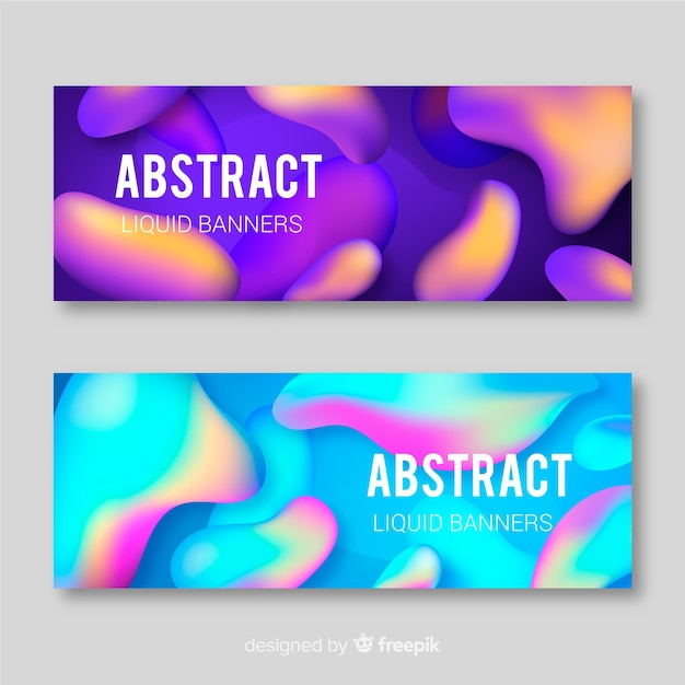 Gradient liquid shape banner set Free Vector