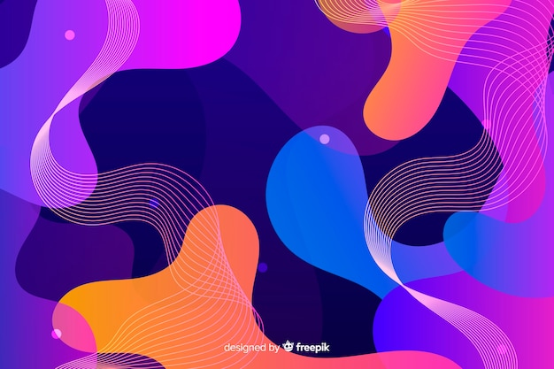 Gradient liquid shapes effect background Free Vector