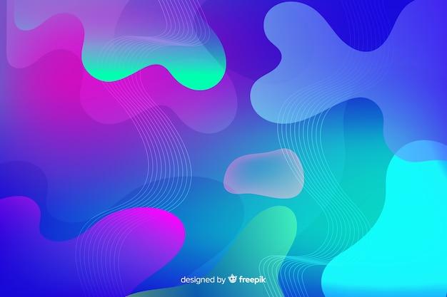 Gradient liquid shapes wallpaper Free Vector