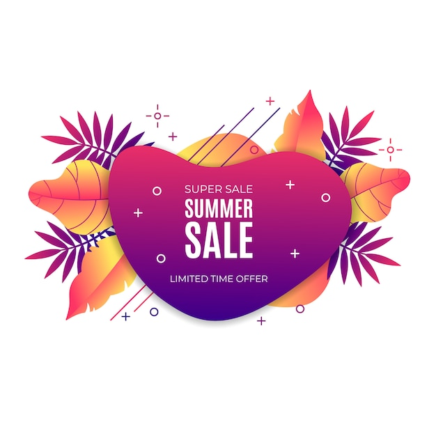 Gradient liquid summer sale banner with tropical elements Free Vector