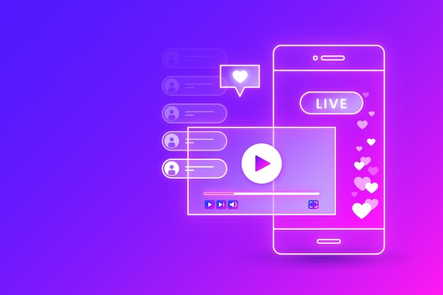 Gradient live stream concept and mobile phone interface Free Vector