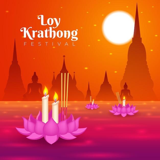 Gradiente loy krathong concept Vettore gratuito