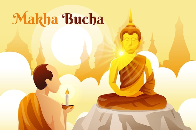 Gradient makha bucha day Free Vector