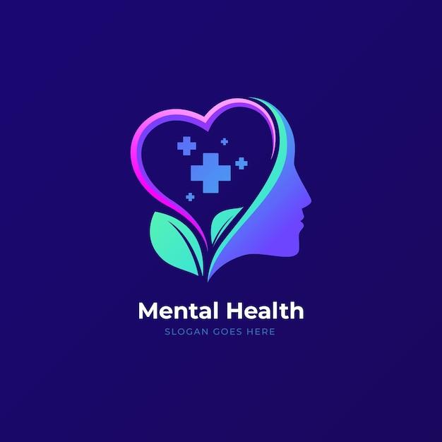 スローガンとグラデーションメンタルヘルスのロゴ 無料ベクター
