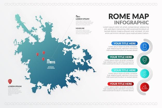 Città metropolitana gradiente di roma capitale mappa infografica Vettore gratuito