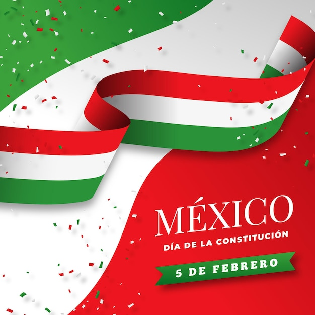 Gradient mexican constitution day flag Free Vector