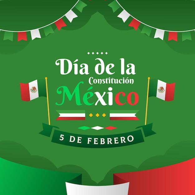 Gradient mexico constitution day Premium Vector