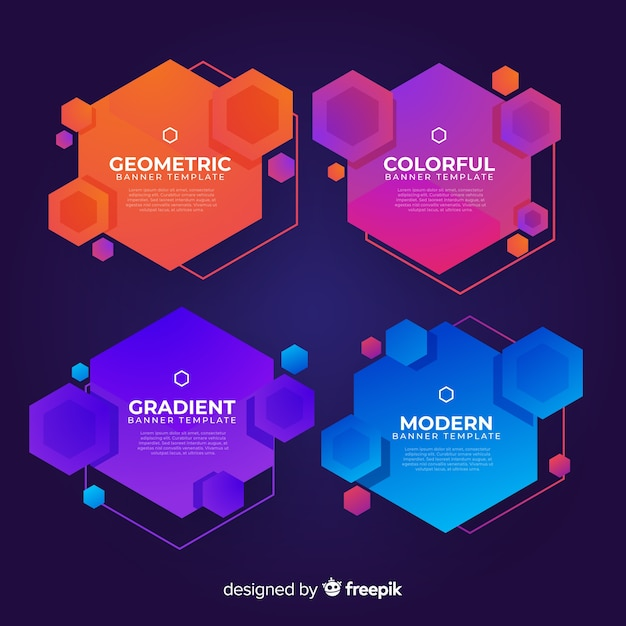 Gradient and modern banners set Free Vector