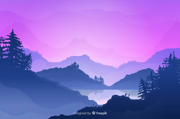 Gradient mountains landscape background Free Vector