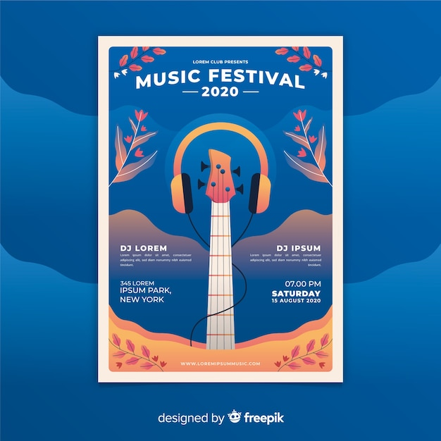Gradient music festival poster template Free Vector