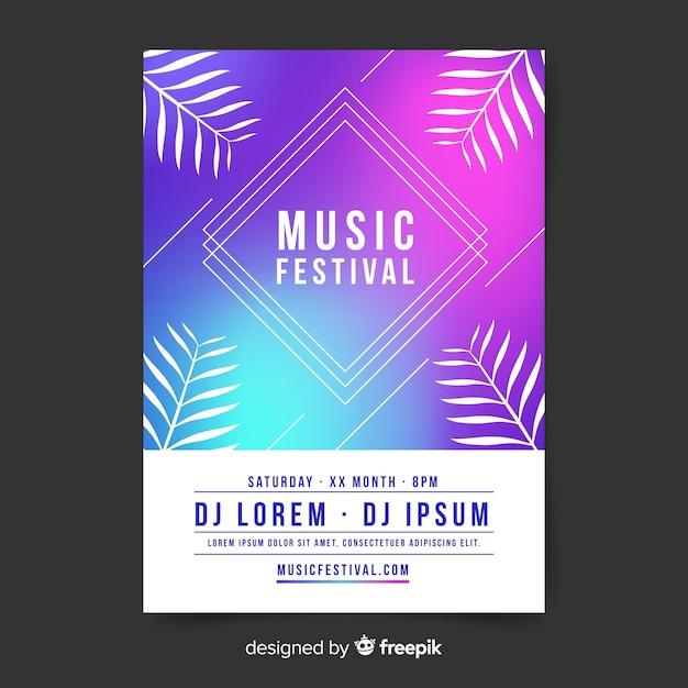 Gradient music festival poster Free Vector