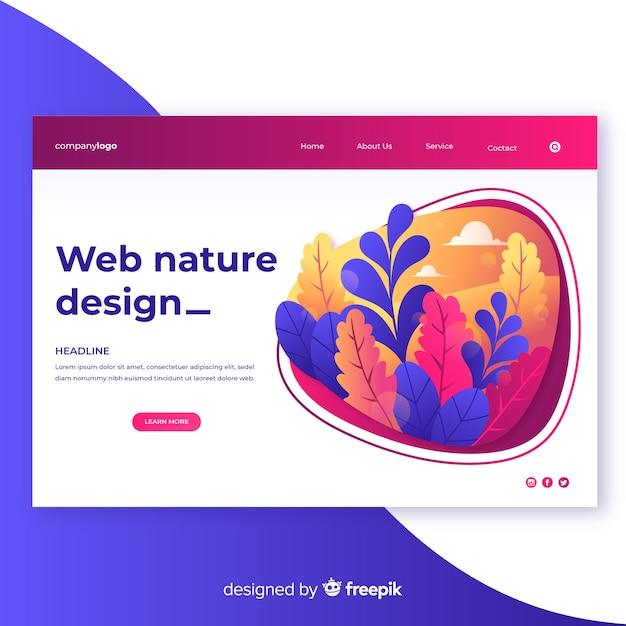Gradient nature web design Free Vector