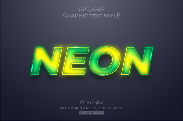 Gradient neon editable text style effect premium Premium Vector