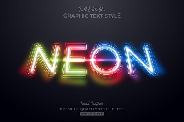 Gradient neon editable   text style effect Premium Vector