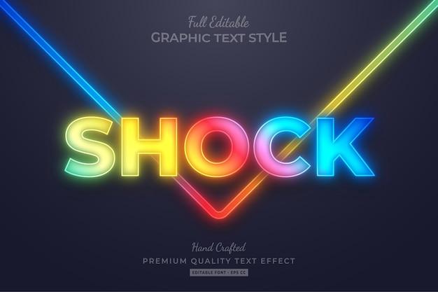 Gradient neon glow editable text style effect premium Premium Vector