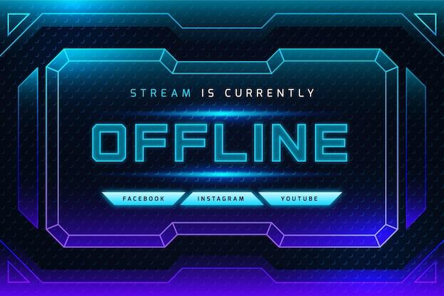 Gradient neon offline twitch banner Premium Vector
