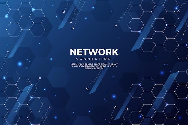 Sfondo di connessione di rete gradiente Vettore gratuito