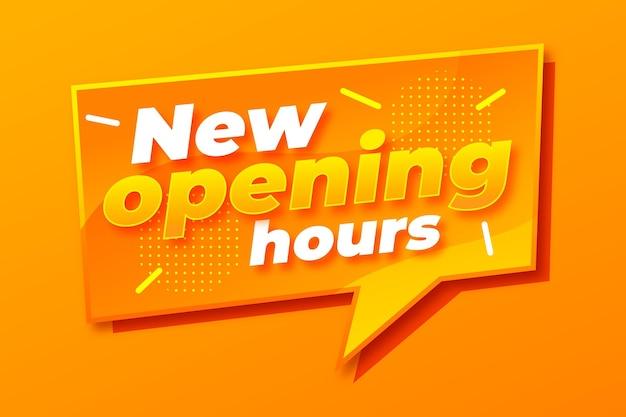 Segno di gradiente nuovo orario di apertura Vettore gratuito