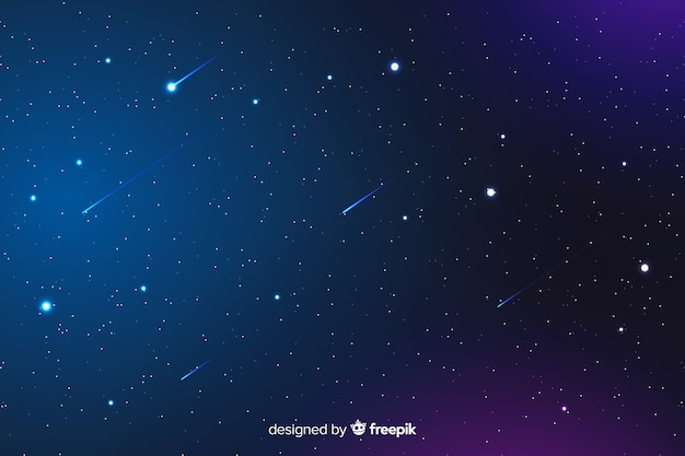 Gradient night background with falling stars Free Vector