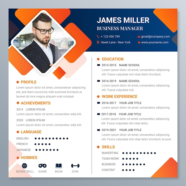 Gradient online resume template Free Vector