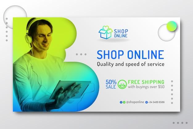 Gradient online shopping landing page Premium Vector