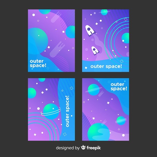 Gradient outer space backgrounds Free Vector