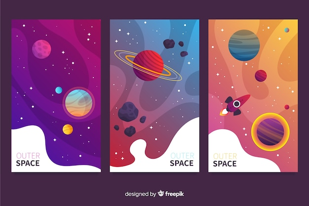 Gradient outer space cover collection Premium Vector