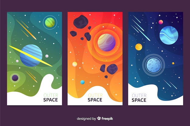 Gradient outer space cover collection Free Vector