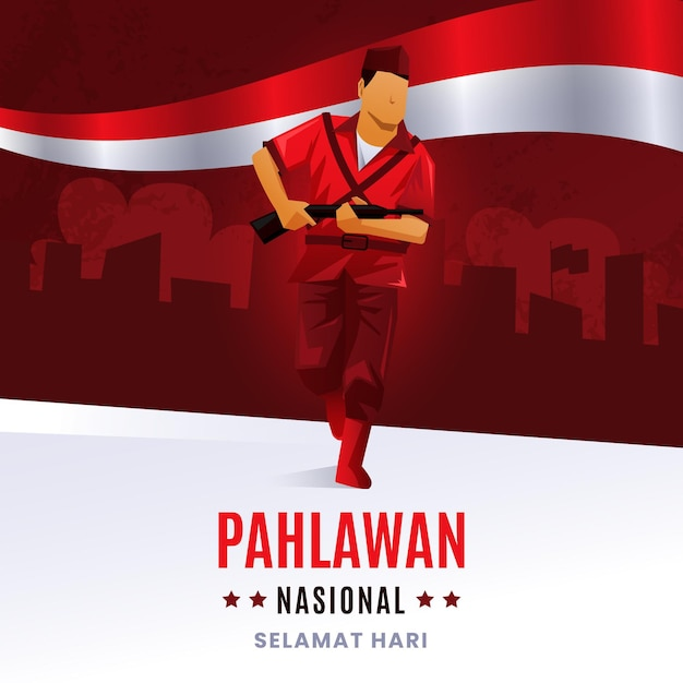 Gradient pahlawan day Premium Vector