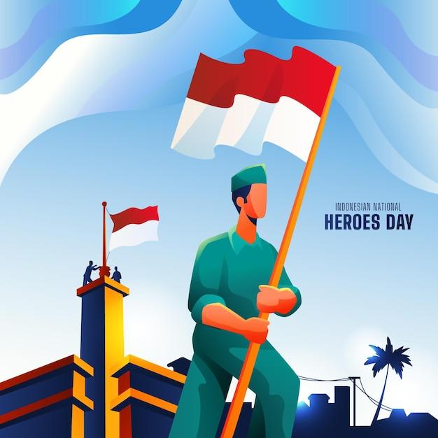 Gradient pahlawan / heroes' day Premium Vector
