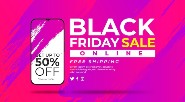Gradient painted background with smarthphone for black friday Free Vector