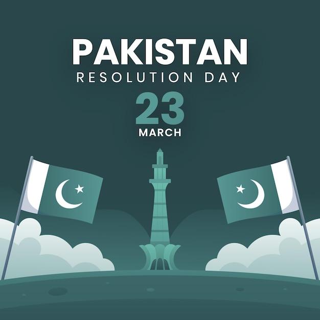 Illustrazione di giorno del pakistan gradiente con moschea badshahi e bandiere Vettore gratuito
