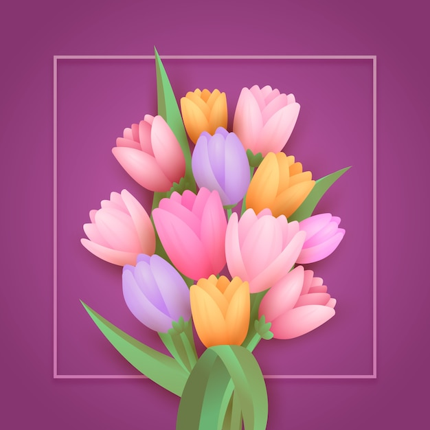 Gradient paper style flowers Free Vector