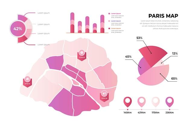 Gradiente infografica mappa della città di parigi Vettore gratuito