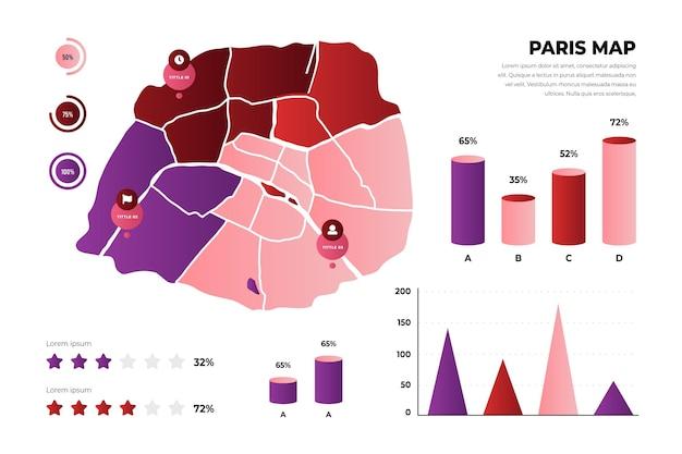 Modello di infografica mappa gradiente parigi Vettore gratuito