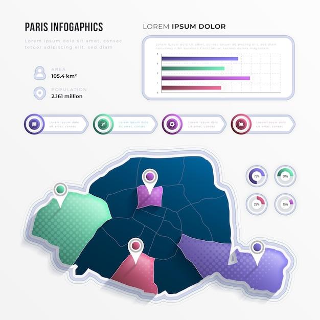 Gradiente infografica mappa parigi con punti di riferimento Vettore gratuito