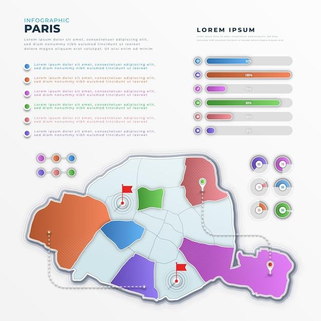 Градиентная карта парижа инфографика Бесплатные векторы