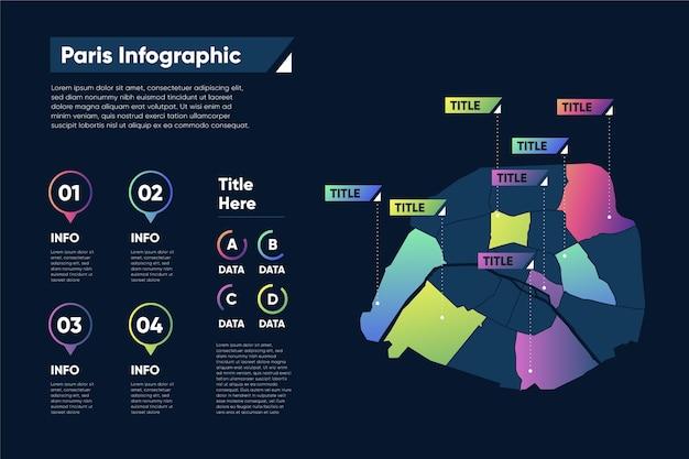 Градиентная карта парижа инфографика Premium векторы