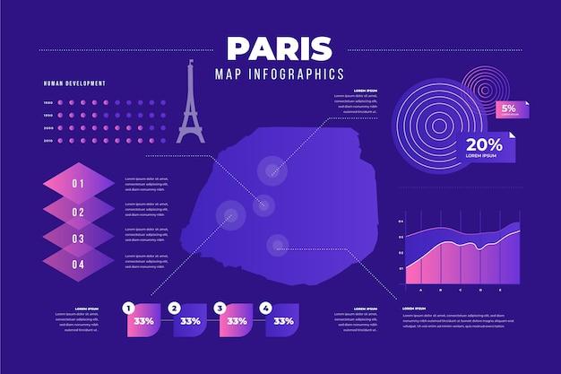 Gradient paris map information Vettore gratuito