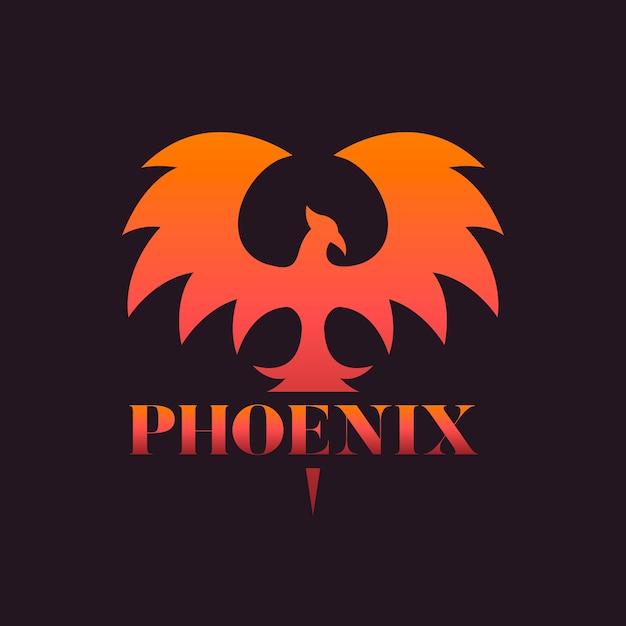 Gradient phoenix logo template Premium Vector