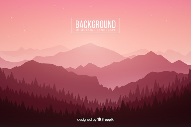 Gradient pink light on mountains with trees Free Vector