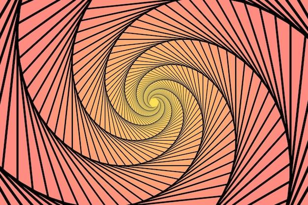 Gradient pink and yellow spiral trippy background Premium Vector