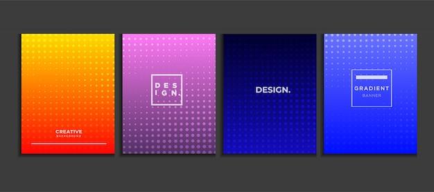 グラデーションポスターの背景は、ハーフトーン、モダンなバナーの概念ベクトルを設定します。 Premiumベクター