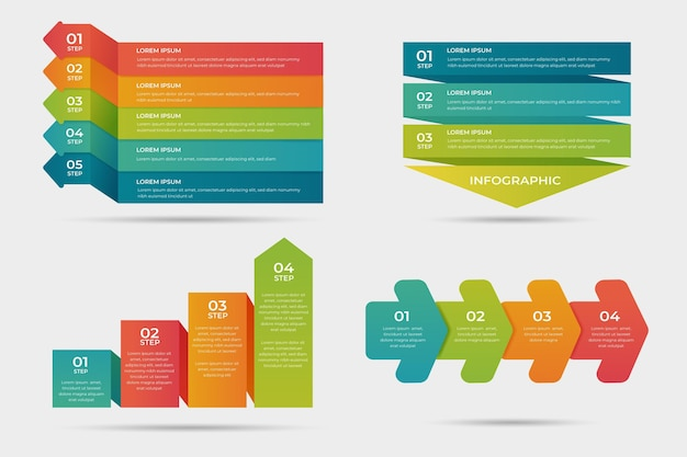 Gradient process infographic design Free Vector
