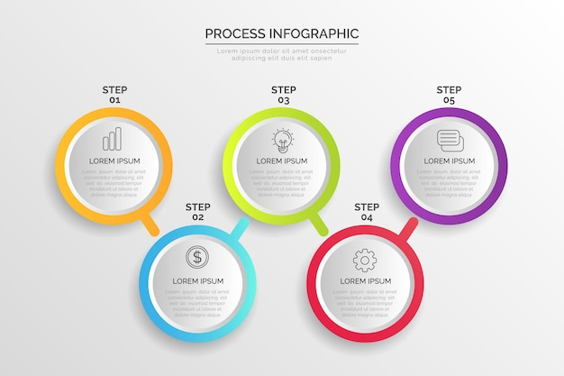 Gradient process template for infographic Free Vector