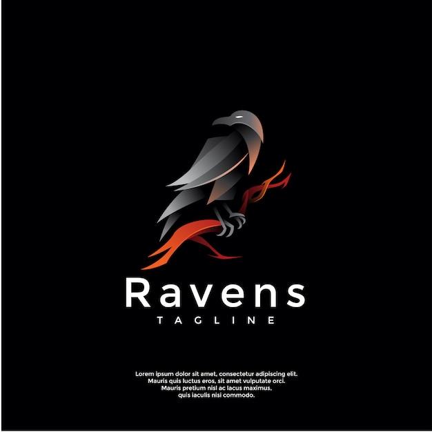 Gradient ravens logo template Premium Vector