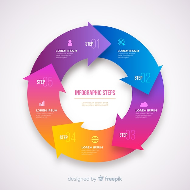 Gradient realistic colorful step infographics Free Vector